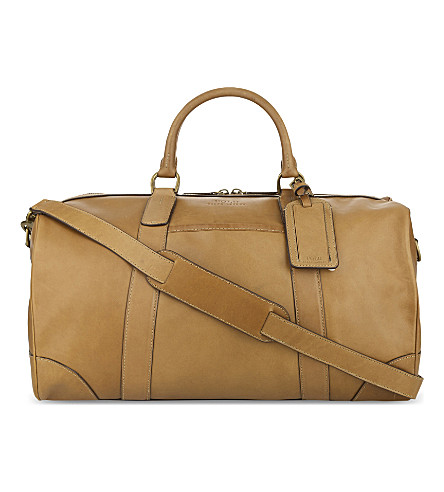 POLO RALPH LAUREN Classic leather duffel bag (Cognac