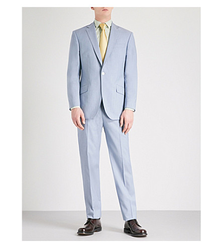 RICHARD JAMES Tailored-fit wool and mohair-blend suit (Sky