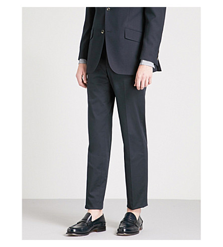 RICHARD JAMES Regular-fit straight wool-twill trousers (Navy