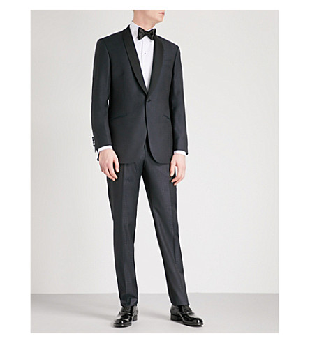 RICHARD JAMES Dogtooth-pattern regular-fit wool tuxedo (Midnight