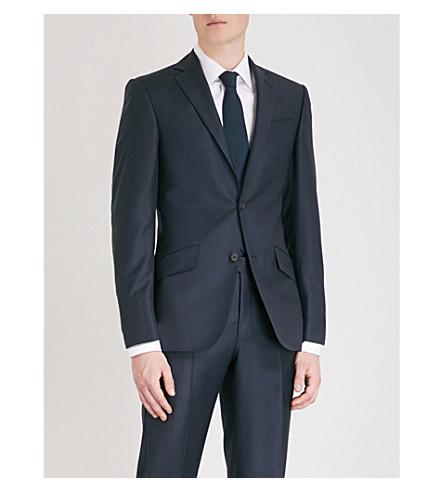 RICHARD JAMES Sharkskin-weave regular-fit wool jacket (Navy