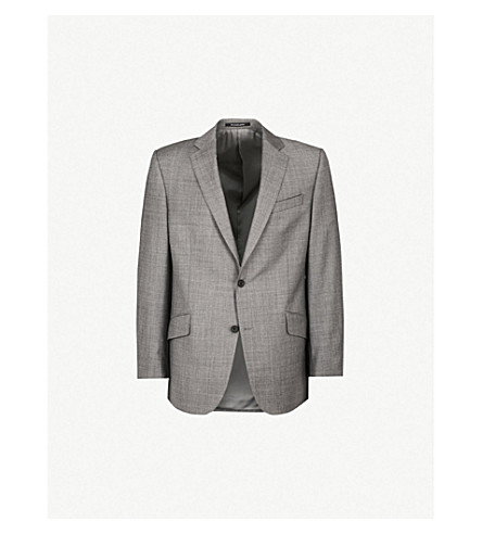RICHARD JAMES Sharkskin-patterned regular-fit wool blazer (Mid+grey