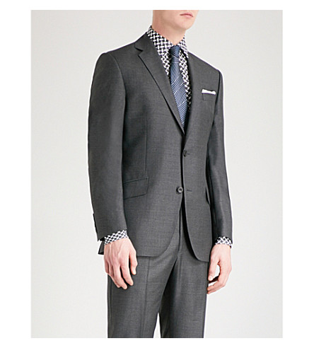 RICHARD JAMES Basketweave slim-fit wool jacket (Charcoal