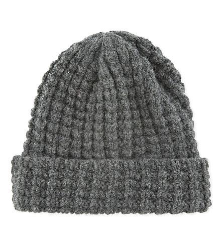 RICHARD JAMES Waffle knit wool beanie (Grey
