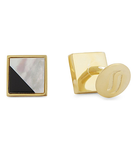 RICHARD JAMES Pearl-effect solid silver cufflinks (Black/white