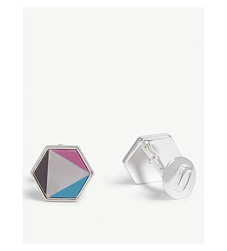 RICHARD JAMES Hexagonal-frame fixed-back silver cufflinks