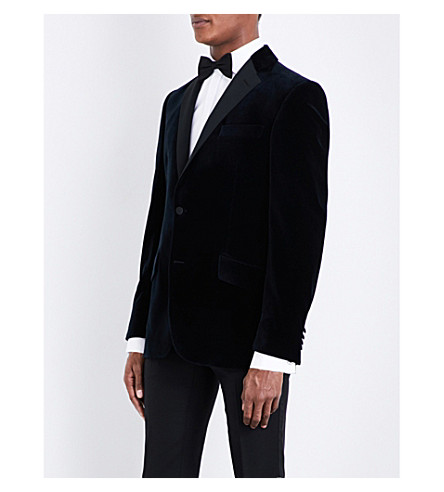 RICHARD JAMES Regular-fit notch-lapel velvet jacket (Midnight