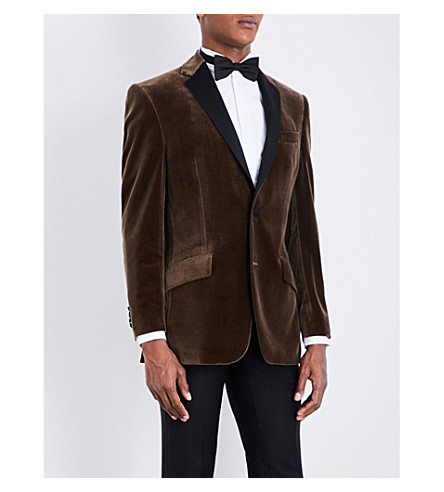 RICHARD JAMES Regular-fit notch-lapel velvet jacket (Mole