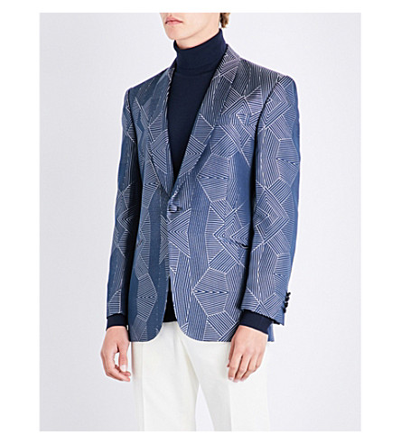 RICHARD JAMES Geometric-patterned regular-fit silk jacket (Navy/white