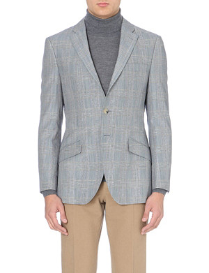 RICHARD JAMES Prince of Wales wool and linen-blend jacket