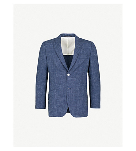RICHARD JAMES Single-breasted wool and silk-blend blazer (Deep+blue