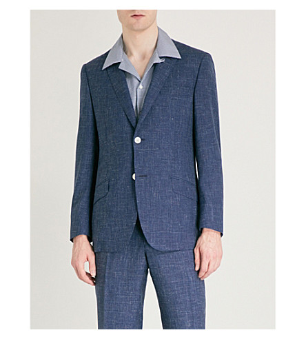 RICHARD JAMES Single-breasted wool and silk-blend jacket (Deep+blue
