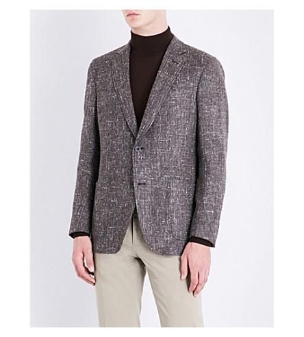 RICHARD JAMES Hopsack regular-fit silk, wool and cashmere-blend jacket (Brown