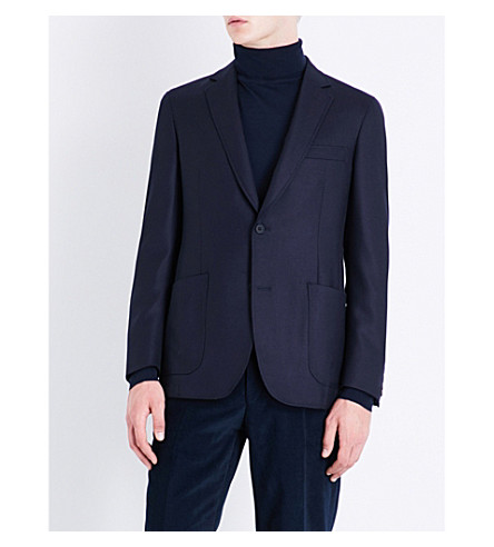 RICHARD JAMES Hopsack regular-fit wool and cashmere-blend jacket (Navy