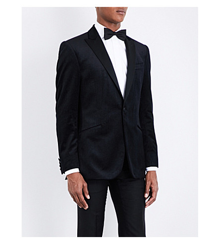 RICHARD JAMES Regular-fit peak-lapel velvet jacket (Black