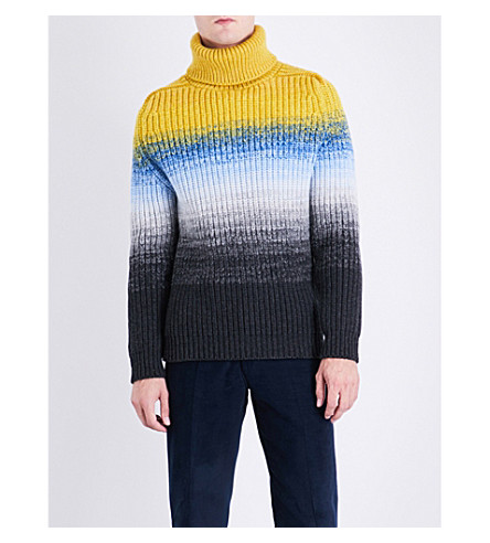 RICHARD JAMES Degrade turtleneck wool jumper (Yellow/charcoal
