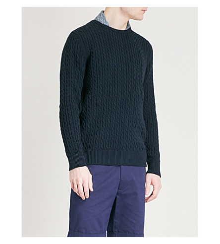 RICHARD JAMES Cable-knit cotton knitted jumper (Navy