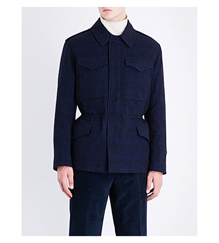 RICHARD JAMES Checked regular-fit wool-blend jacket (Navy