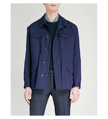 RICHARD JAMES Pocketed cotton-twill jacket (Deep+blue