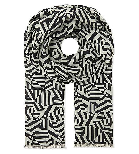 RICHARD JAMES Dazzle camouflage cashmere-silk blend scarf (Black//white