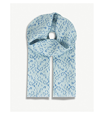 RICHARD JAMES Linear stripe linen scarf (Blue