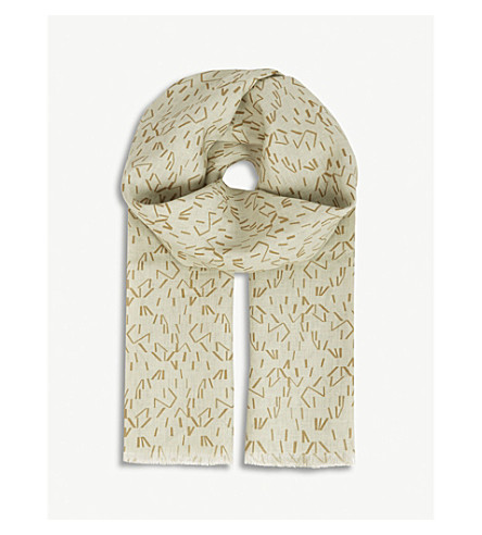 RICHARD JAMES Linear stripe linen scarf (Brown