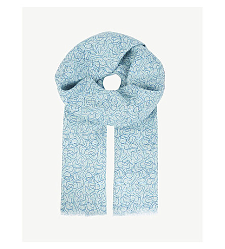 RICHARD JAMES 50s ripple linen scarf (Blue