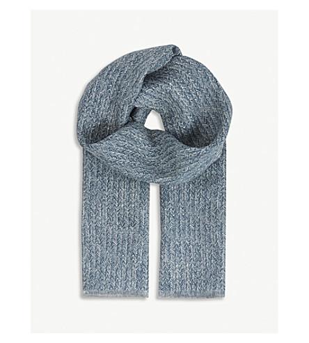RICHARD JAMES Herringbone linen scarf (Navy