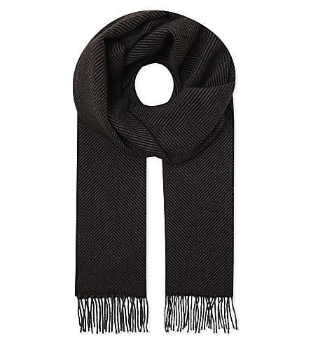 RICHARD JAMES Herringbone cashmere scarf (Brown/grey