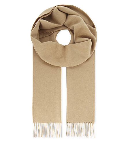 RICHARD JAMES Solid cashmere scarf (Camel