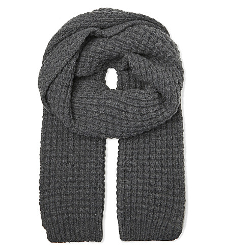 RICHARD JAMES Wool waffle scarf (Grey