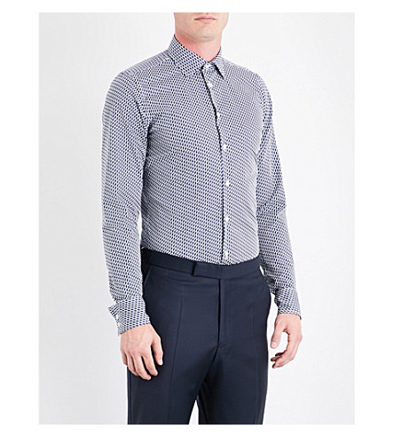 RICHARD JAMES Leaf-print slim-fit cotton shirt (Deep+blue