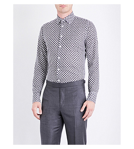 RICHARD JAMES Optic cube-patterned fitted cotton shirt (Black