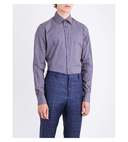 RICHARD JAMES Eye spot-patterend fitted cottnon shirt (Blue/rust