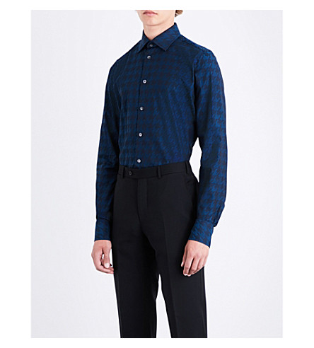 RICHARD JAMES Dogtooth-patterned fitted cotton shirt (Indigo
