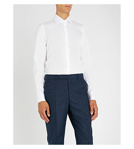 RICHARD JAMES 螺旋提花修身版型棉衬衫 (白色