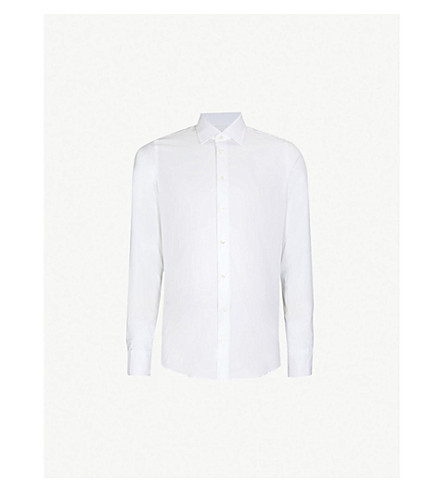 RICHARD JAMES Dotted slim-fit cotton shirt (White