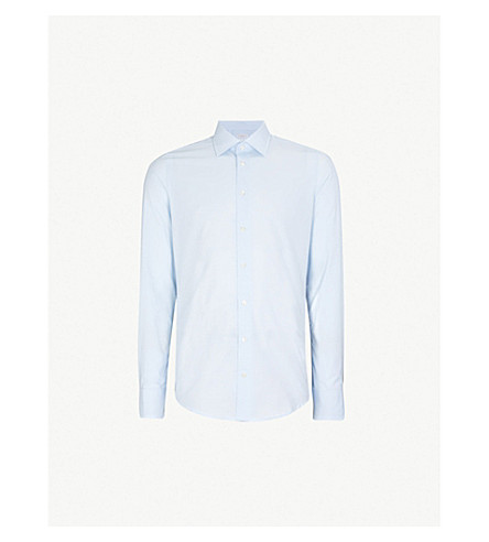 RICHARD JAMES 点缀修身版型棉衬衫 (蓝色