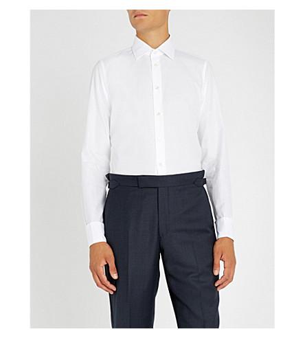 RICHARD JAMES 格子花纹修身版型棉衬衫 (白色