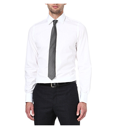 RICHARD JAMES Poplin slim-fit single-cuff shirt (White