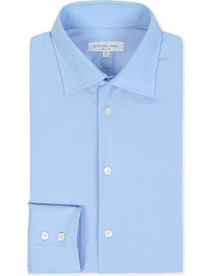 RICHARD JAMES Poplin tailored-fit single-cuff shirt