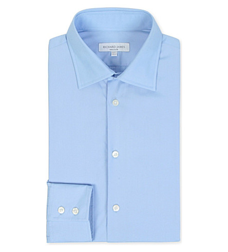 RICHARD JAMES Poplin tailored-fit single-cuff shirt (Blue