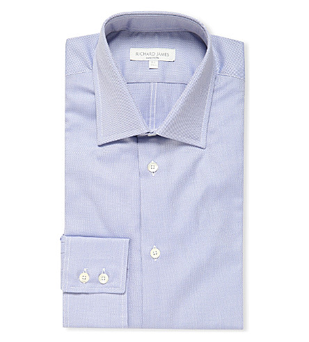 RICHARD JAMES Oxford single cuff slim fit shirt (Blue