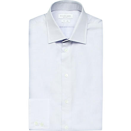 RICHARD JAMES Spread-collar single-cuff shirt (Blue