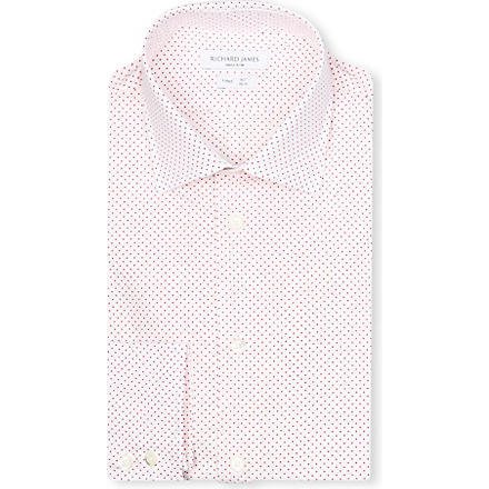 RICHARD JAMES Spread-collar single-cuff shirt (Orange