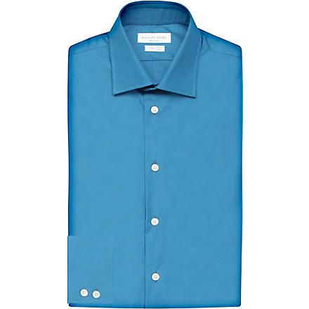 RICHARD JAMES Spread-collar single-cuff shirt (Turquoise