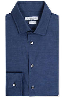 RICHARD JAMES Contemporary-fit single-cuff herringbone shirt