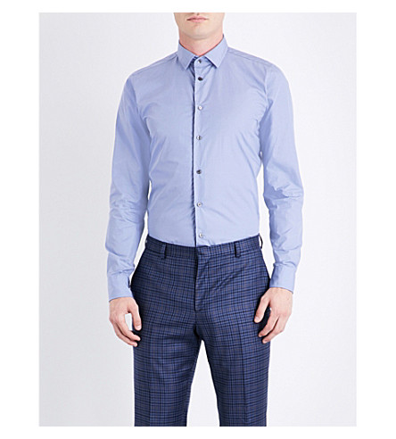 RICHARD JAMES Contemporary-fit cotton-poplin shirt (Blue/grey