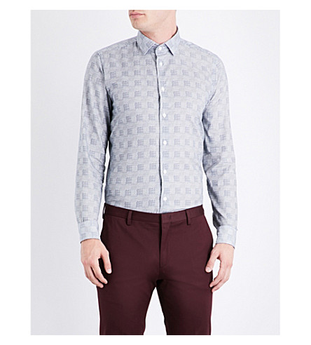 RICHARD JAMES Checked contemporary-fit cotton shirt (Blue/white