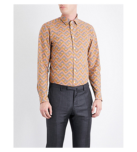 RICHARD JAMES Zigzag-patterned contemporary-fit cotton shirt (Orange/grey